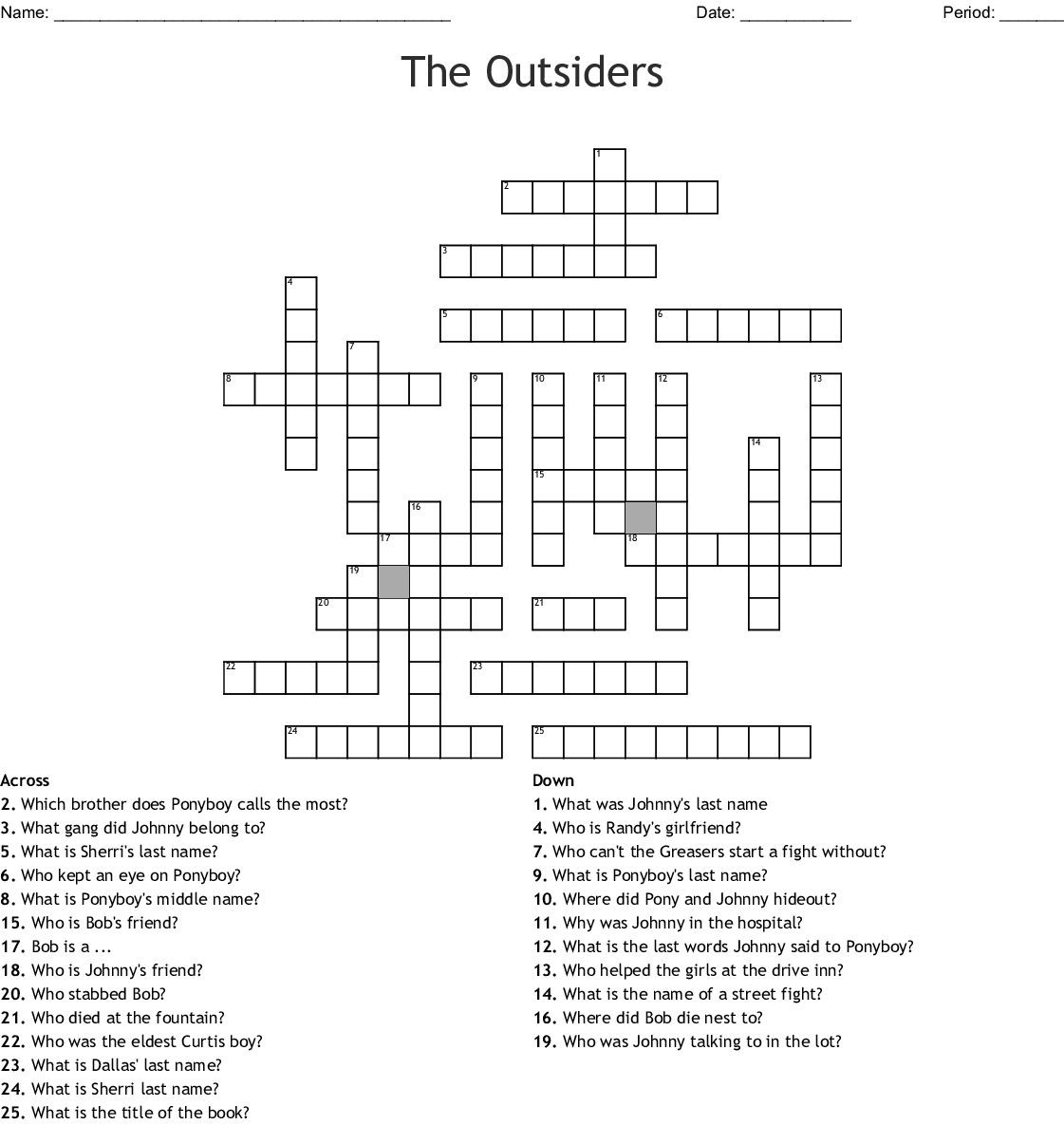 The Outsiders Crossword