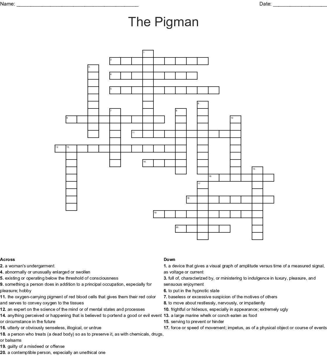 The Pigman Crossword