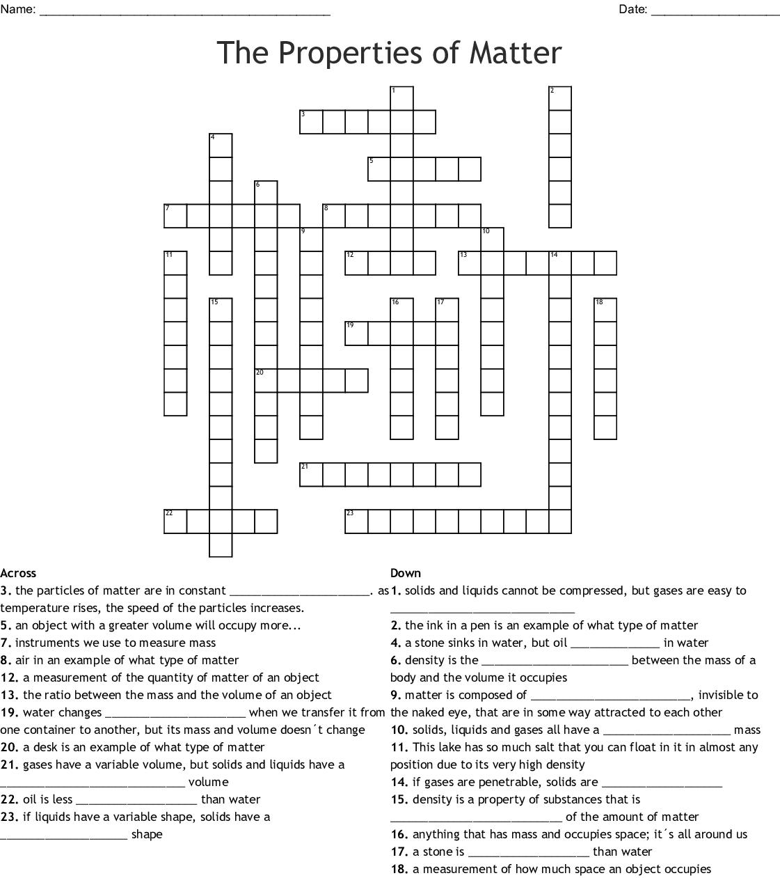 The Properties Of Matter Crossword