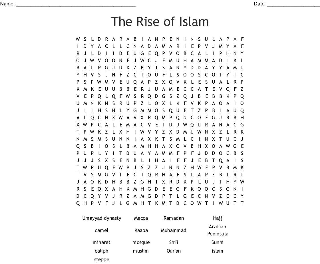 The Rise Of Islam Worksheet