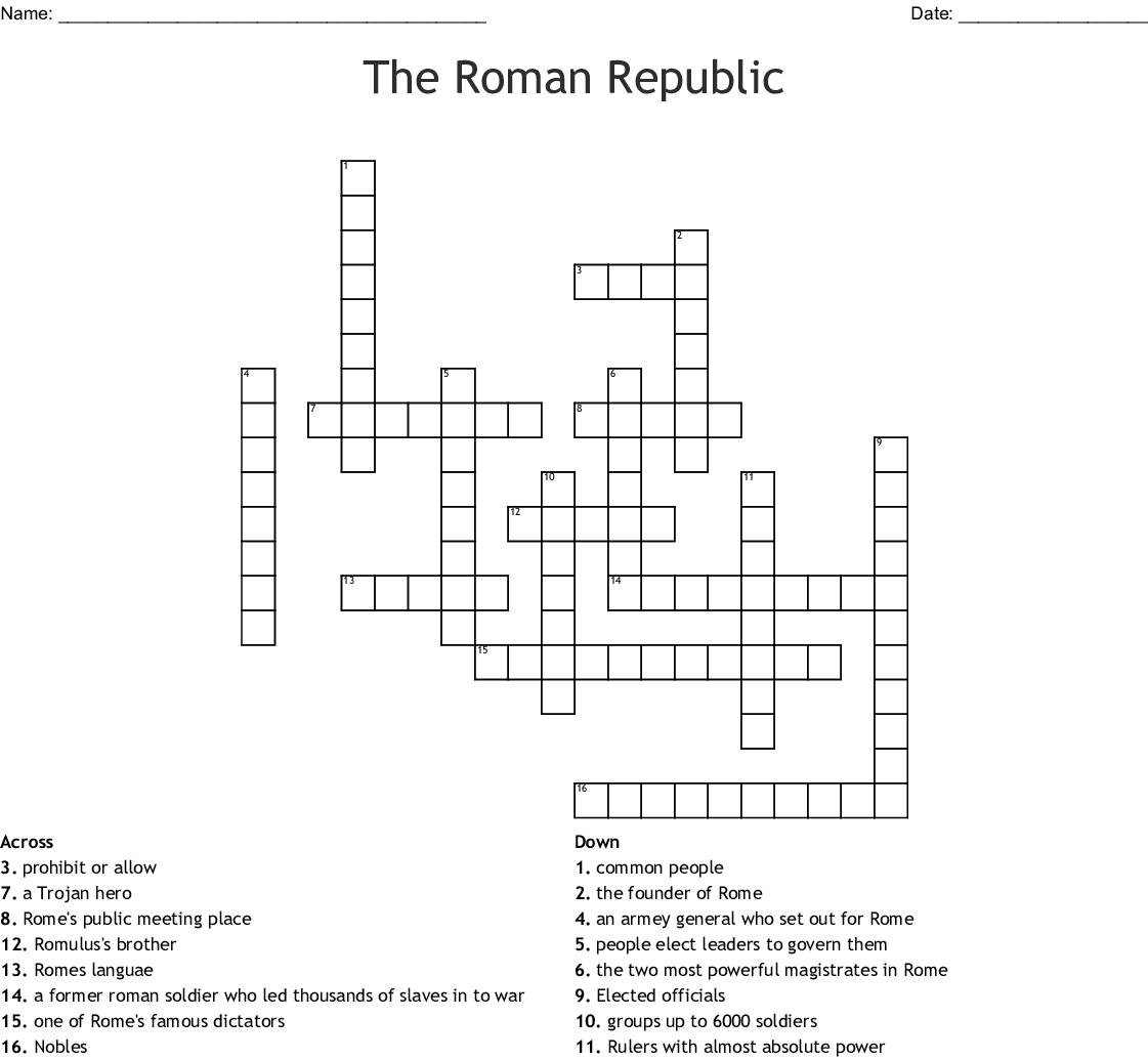 Roman History Crossword