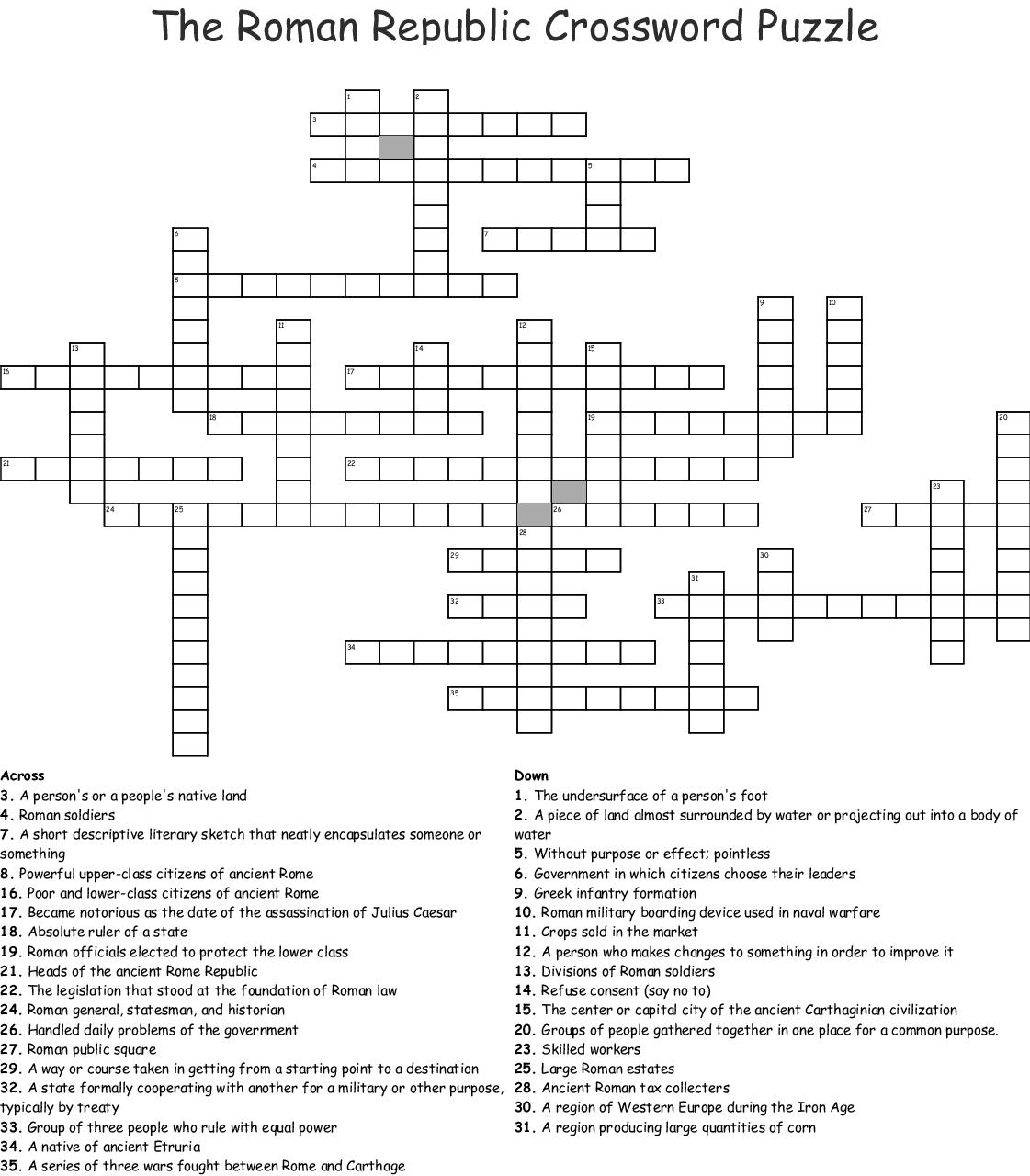 The Roman Republic Crossword