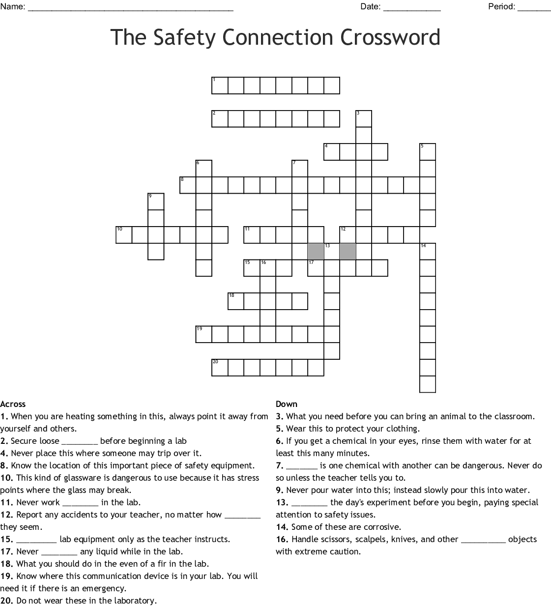 Science Lab Safety Rules Crossword