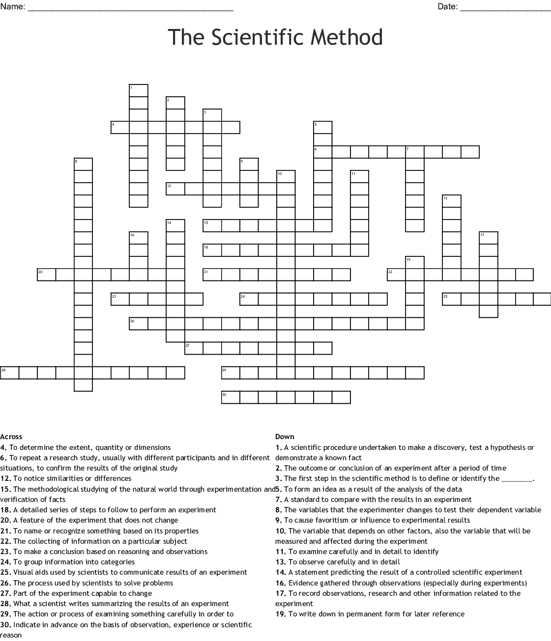 Experimental Design Worksheet Scientific Method