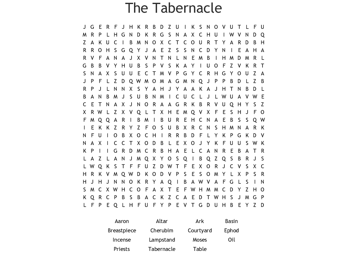 Tabernacle Word Search