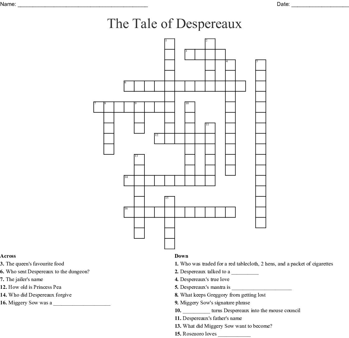 The Tale Of Despereaux Crossword