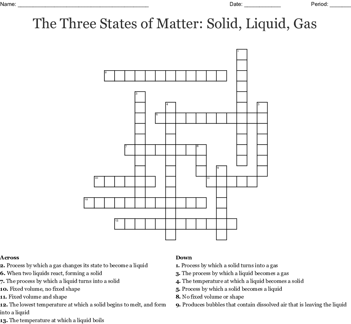 The Three States Of Matter Solid Liquid Gas Crossword