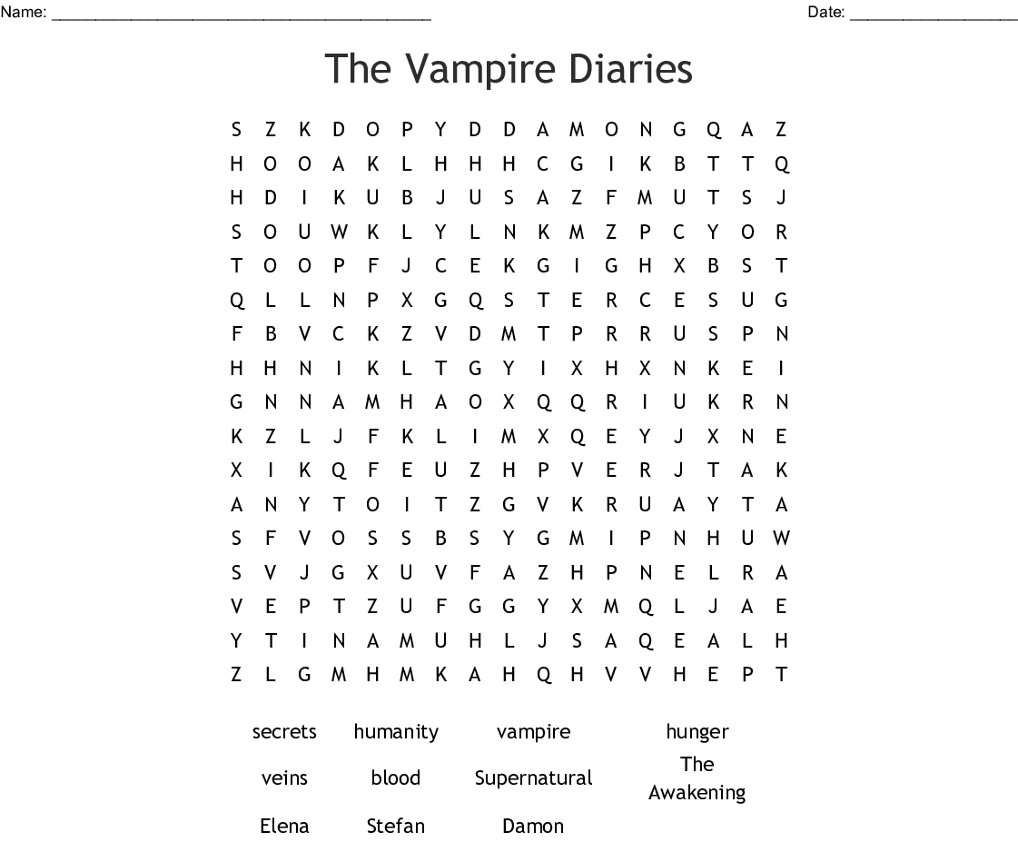 The Vampire Diaries Word Search