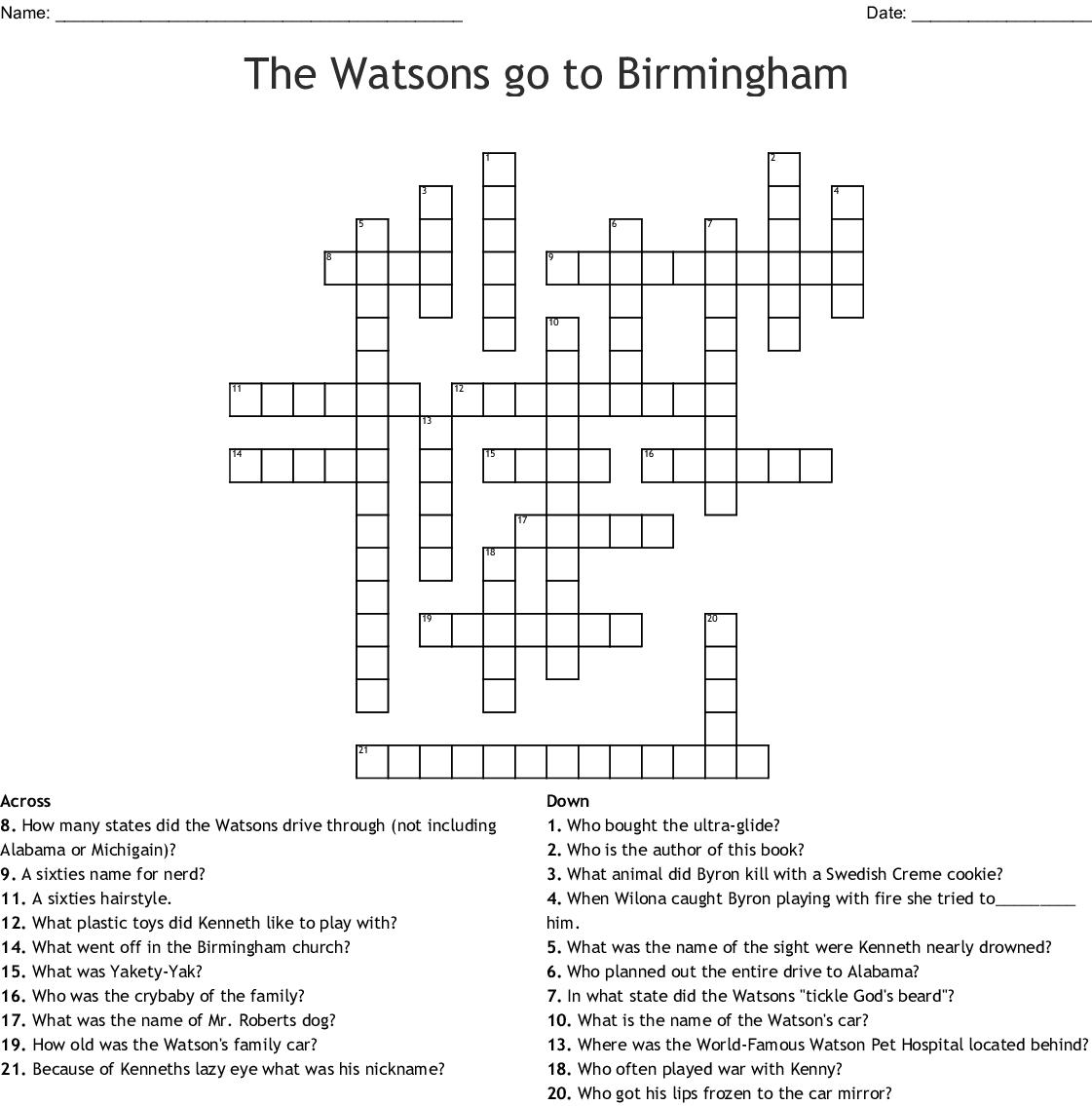 The Watsons Go To Birmingham Crossword Puzzle