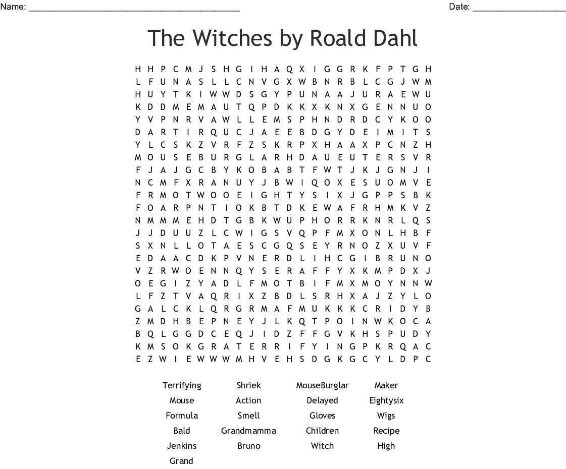 The Witches By Roald Dahl Word Search