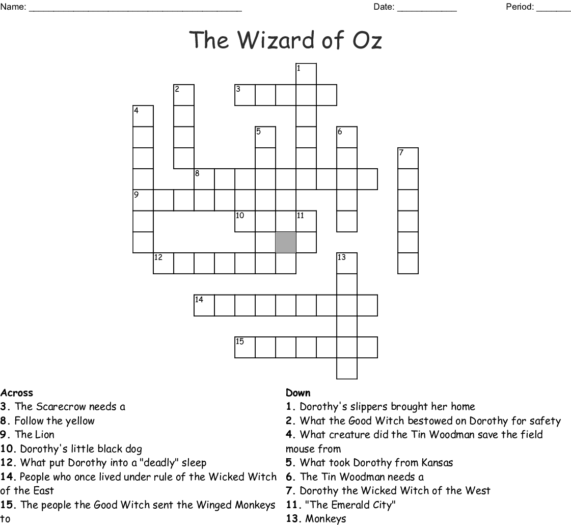 Wizard Of Oz Crossword