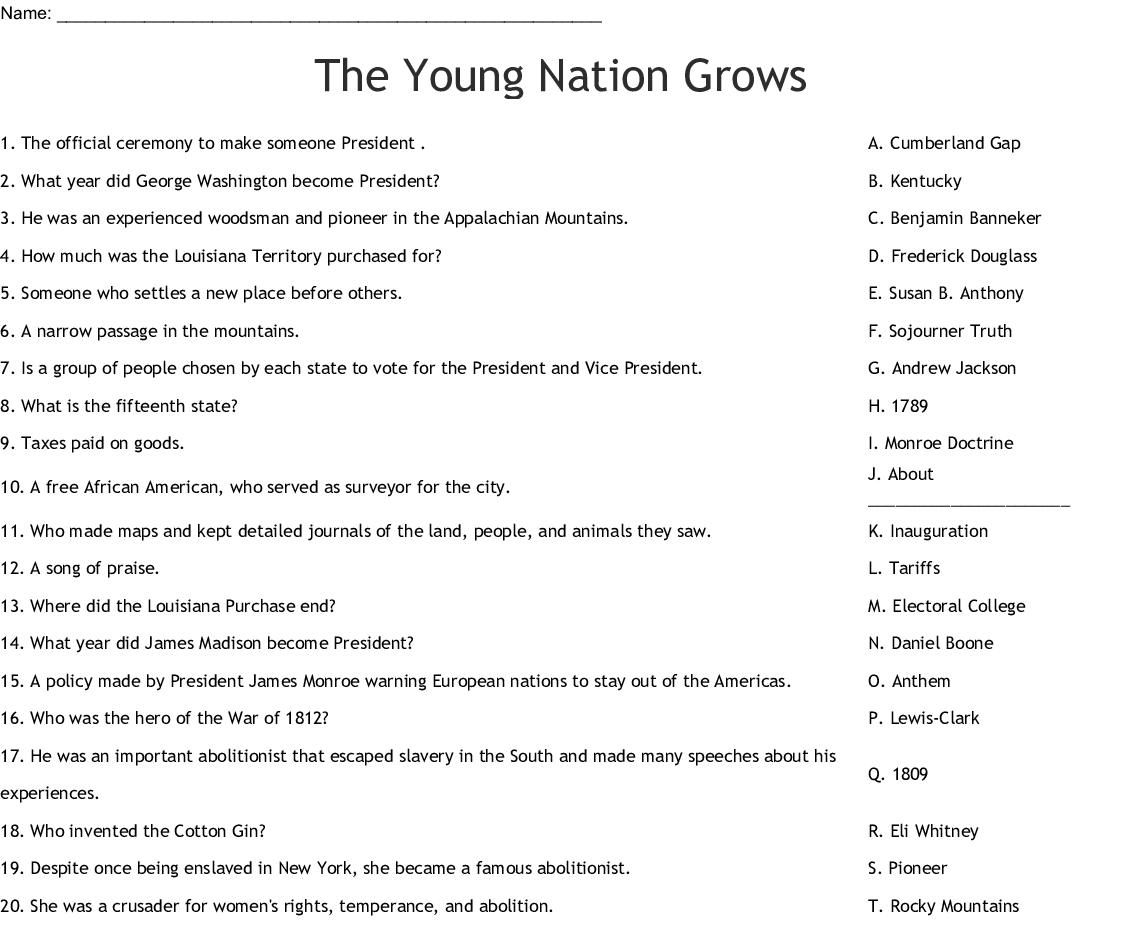 The Young Nation Grows Worksheet