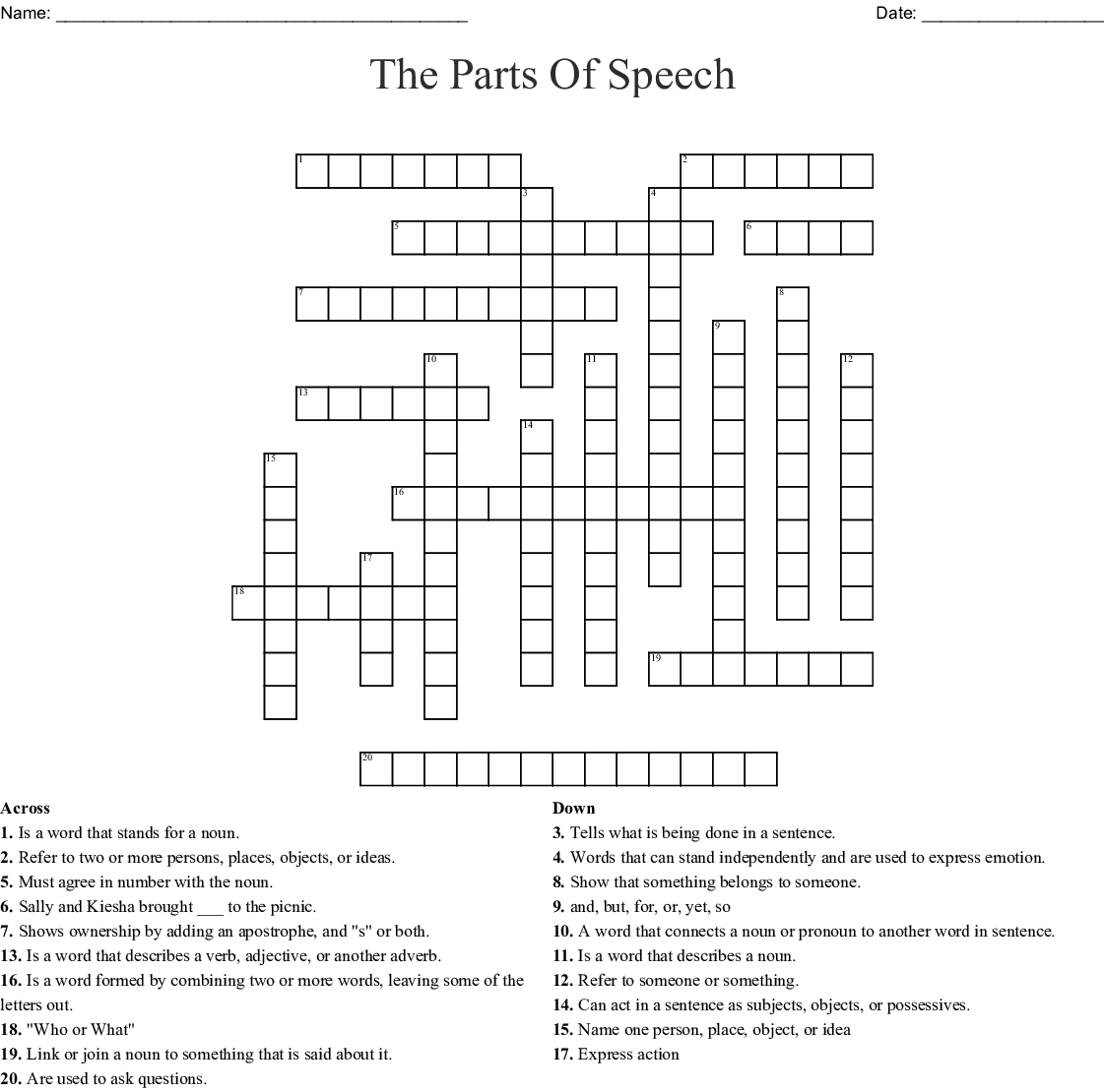 Parts Of Speech Crossword Puzzle
