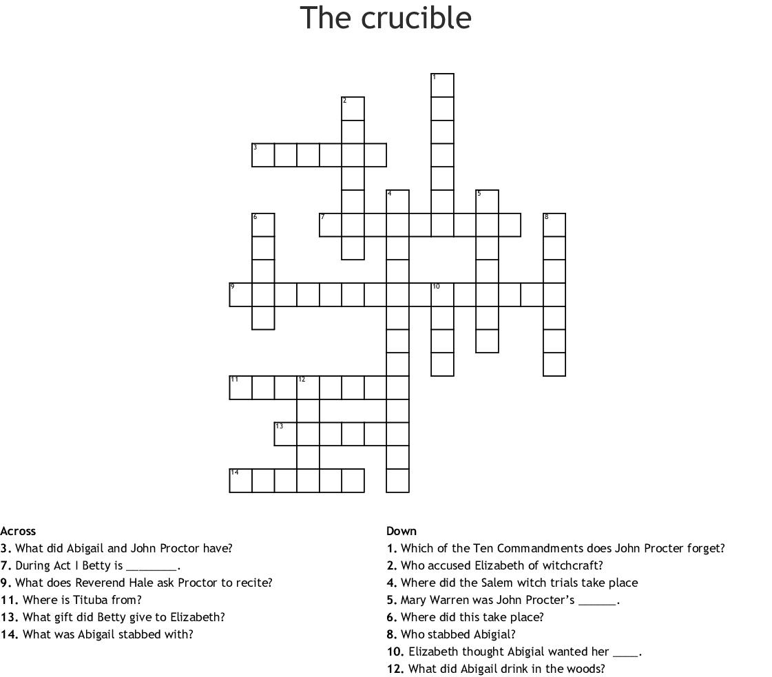 The Crucible Crossword