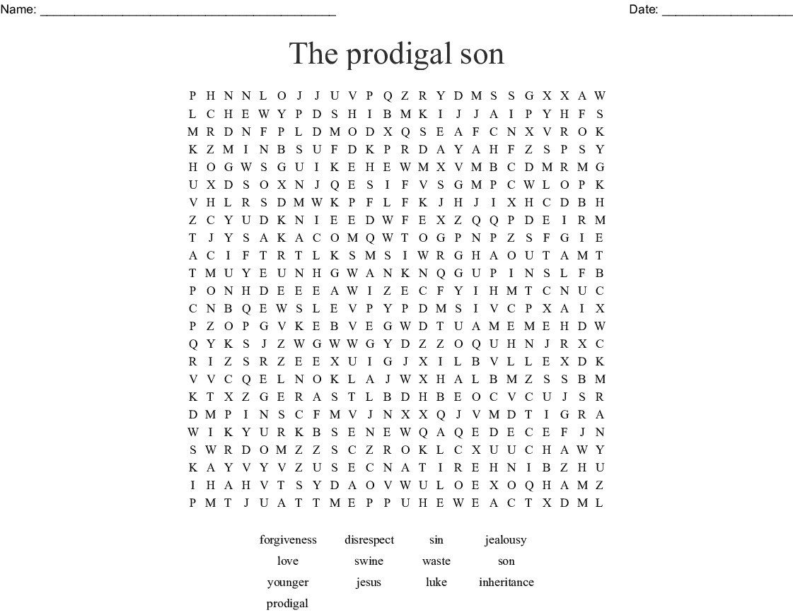 Prodigal Son Word Search