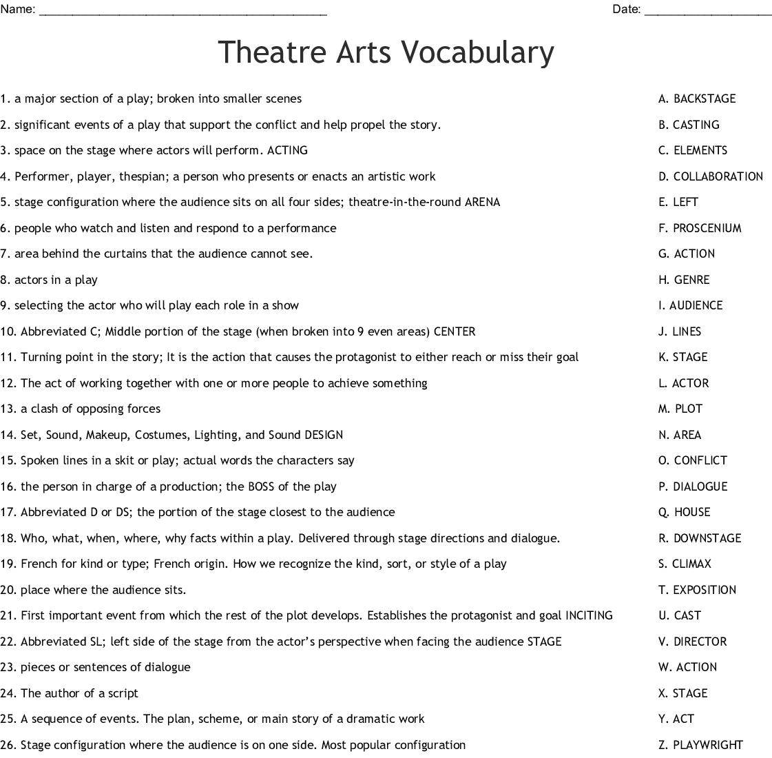 Theatre Arts Vocabulary Worksheet