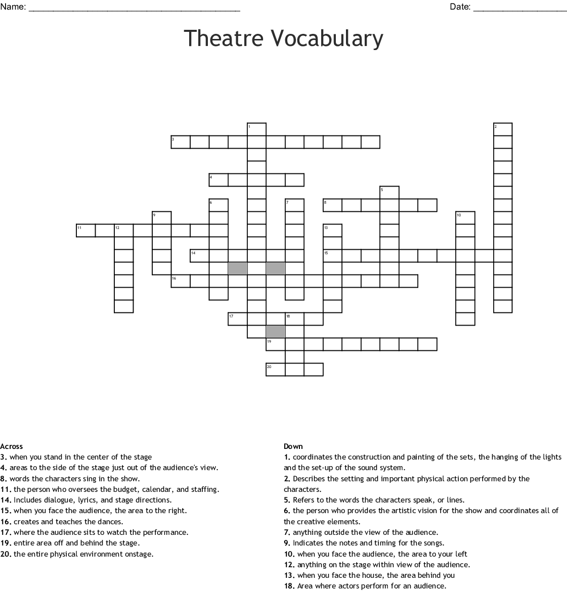 Acting And Theatre Terminology Worksheet Answers