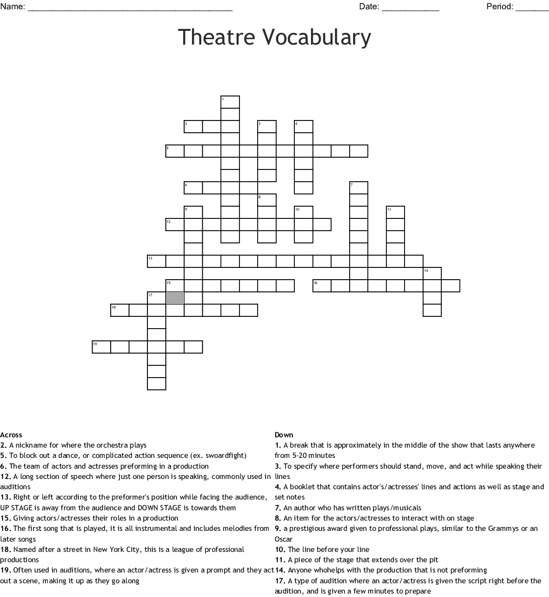 Technical Theater Vocabulary Crossword Puzzle Answer
