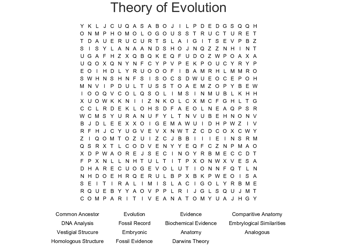 Theory Of Evolution Word Search