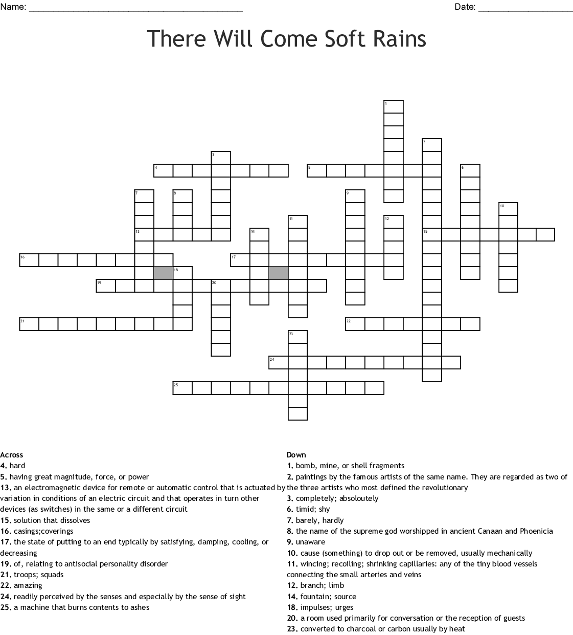 There Will Come Soft Rains Word Search