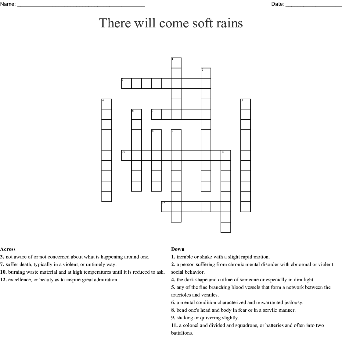 There Will Come Soft Rains Crossword Puzzle