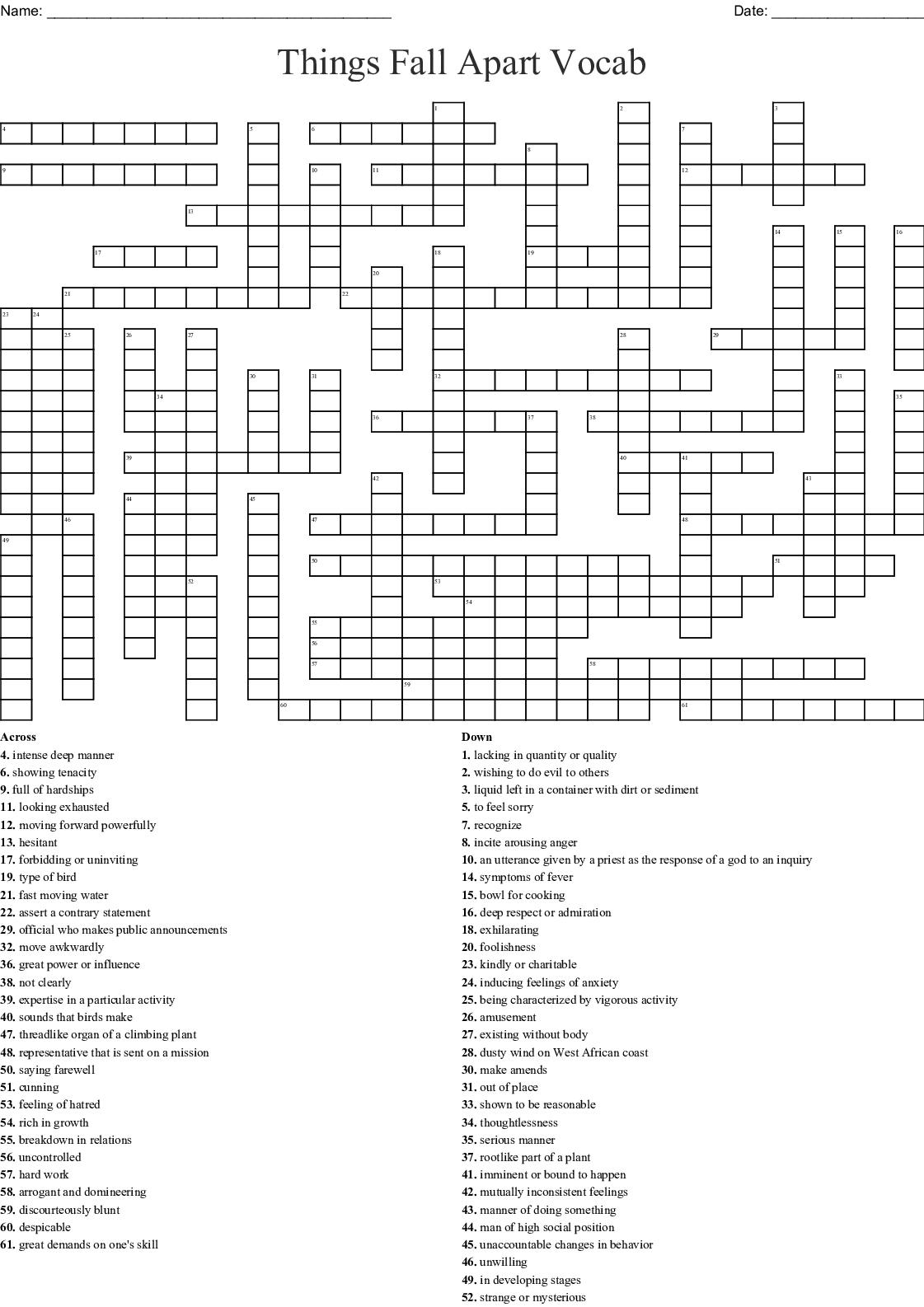 Things Fall Apart Vocabulary Crossword