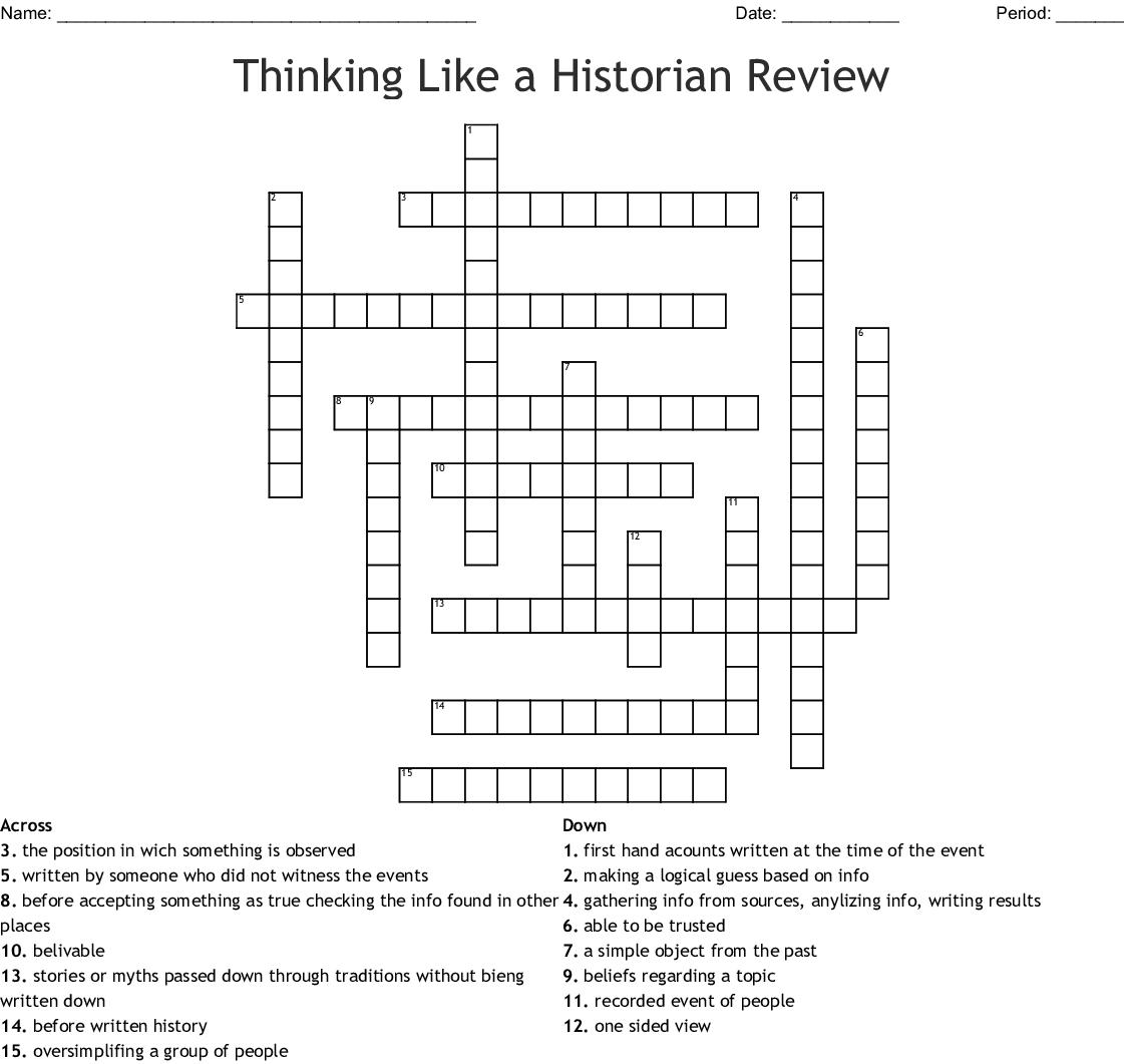 Thinking Like A Historian Crossword