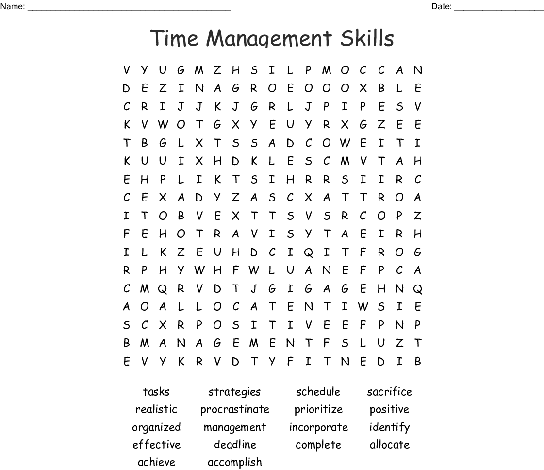 Time Management Skills Word Search