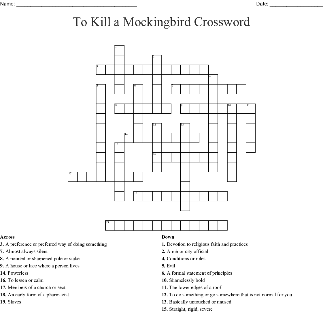 To Kill A Mockingbird Chapter 1 Vocabulary Words Crossword