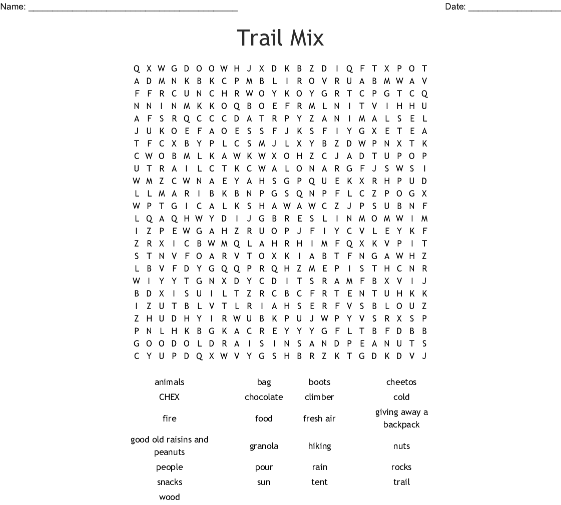 Trail Mix Word Search
