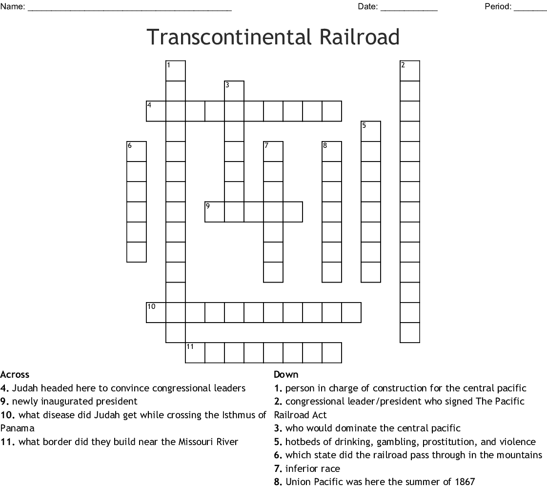 Transcontinental Railroad Crossword