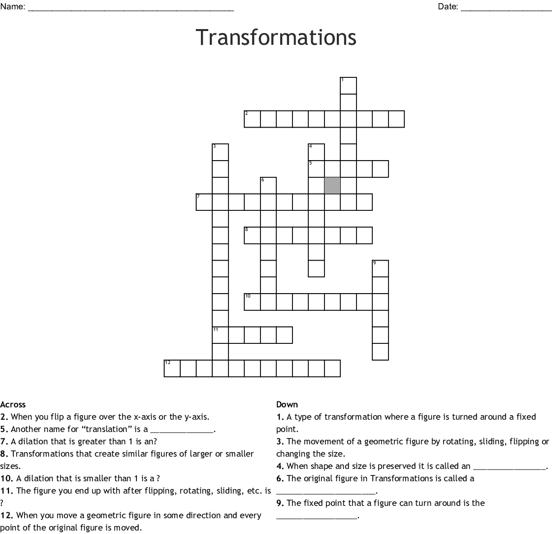 Transformations Crossword