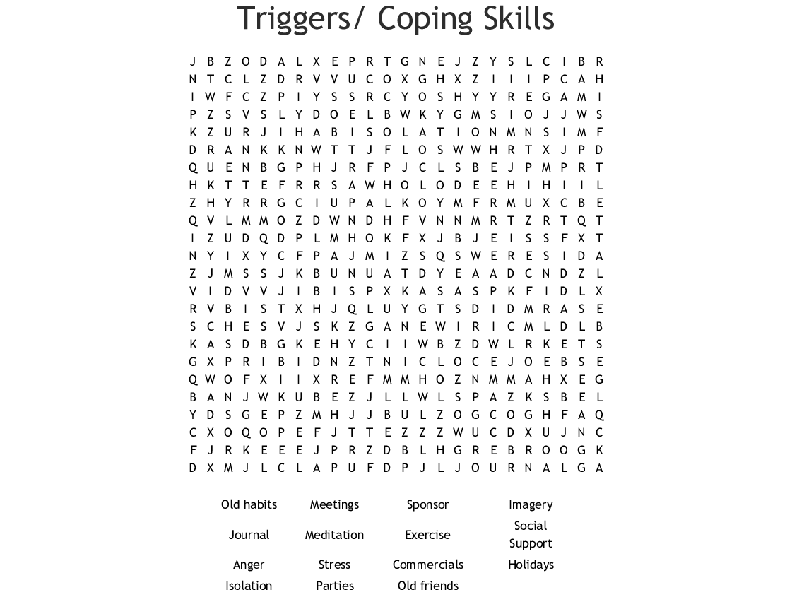 Triggers Coping Skills Word Search