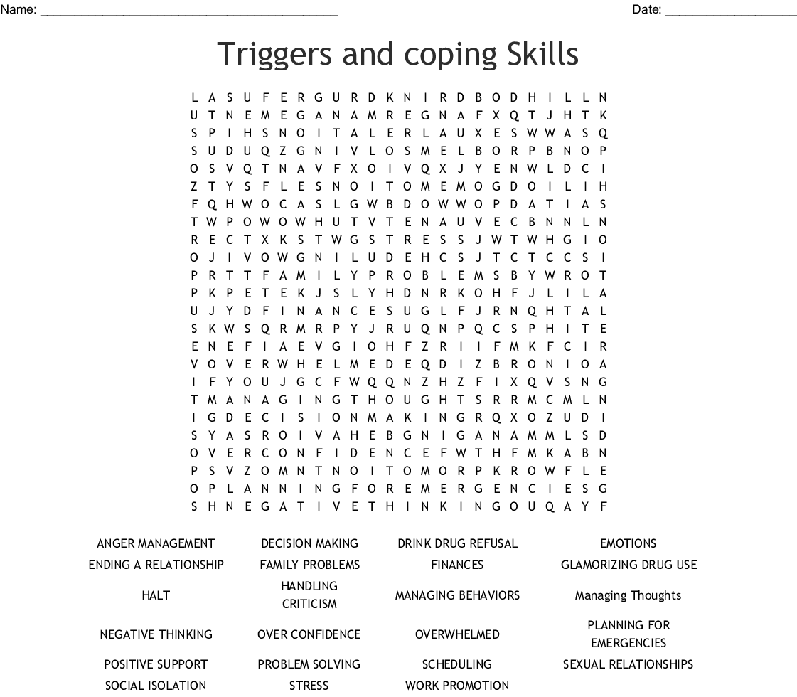 Triggers And Coping Skills Bingo Cards