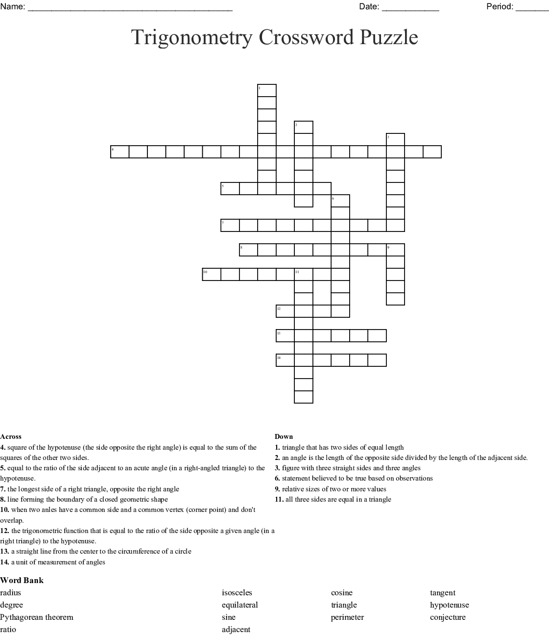 Right Triangle And Trigonometry Crossword