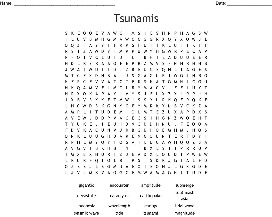 Tsunamis Word Search