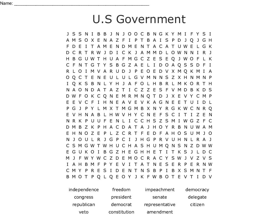 Politics Word Search