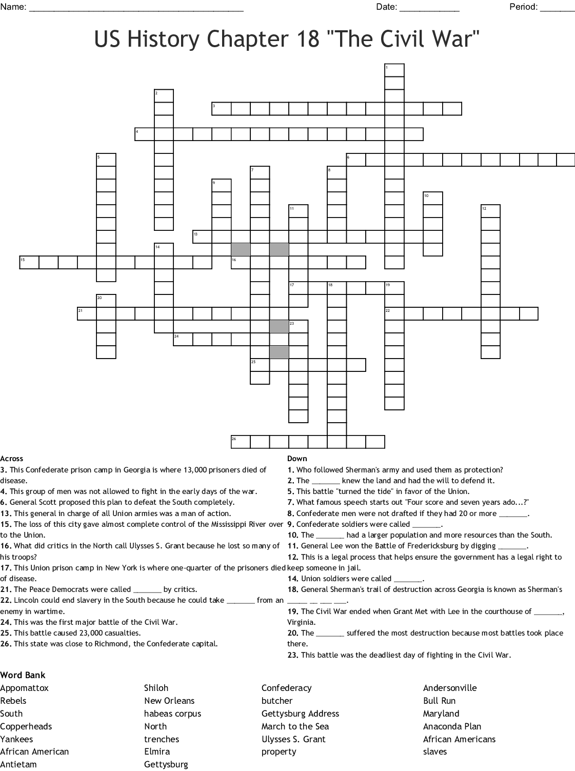 Us History Chapter 18 The Civil War Crossword