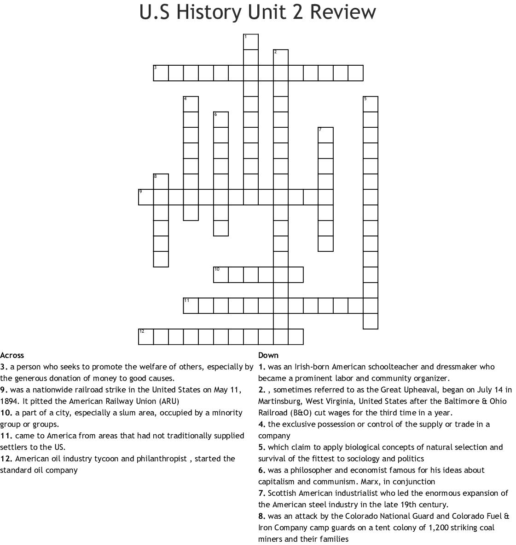 Industrialization Crossword Puzzle