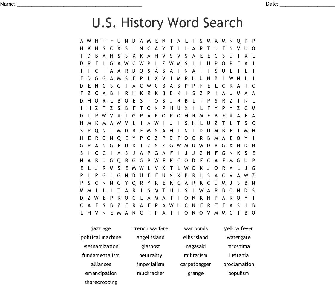 U S History Word Search