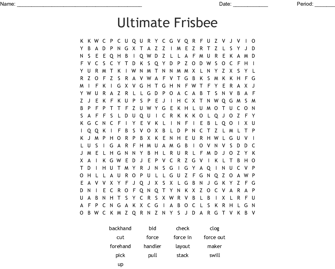 Ultimate Frisbee Word Search