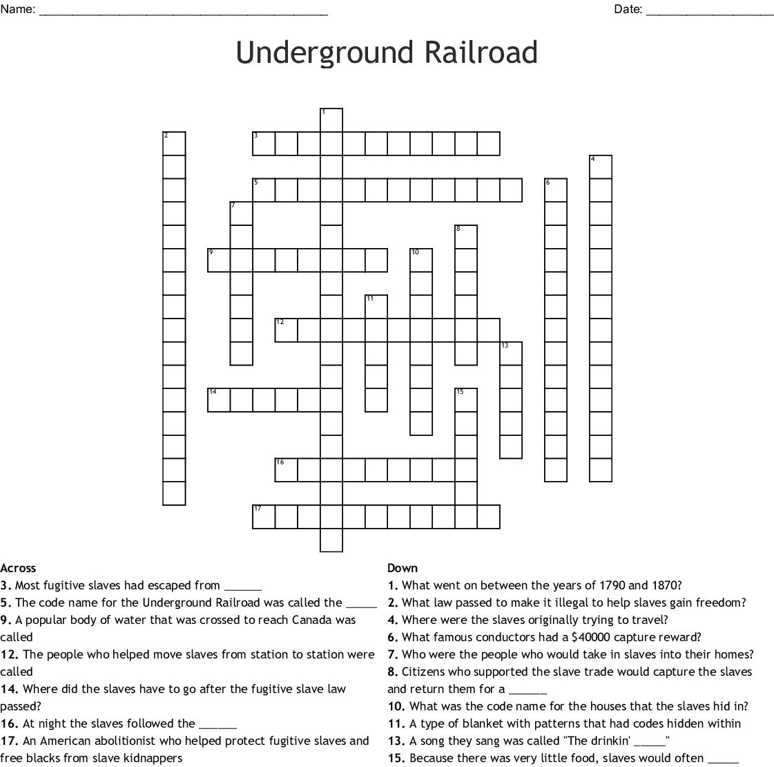 Follow The Drinking Gourd Crossword