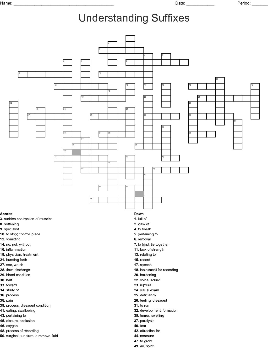Prefix And Suffix Crossword Puzzle