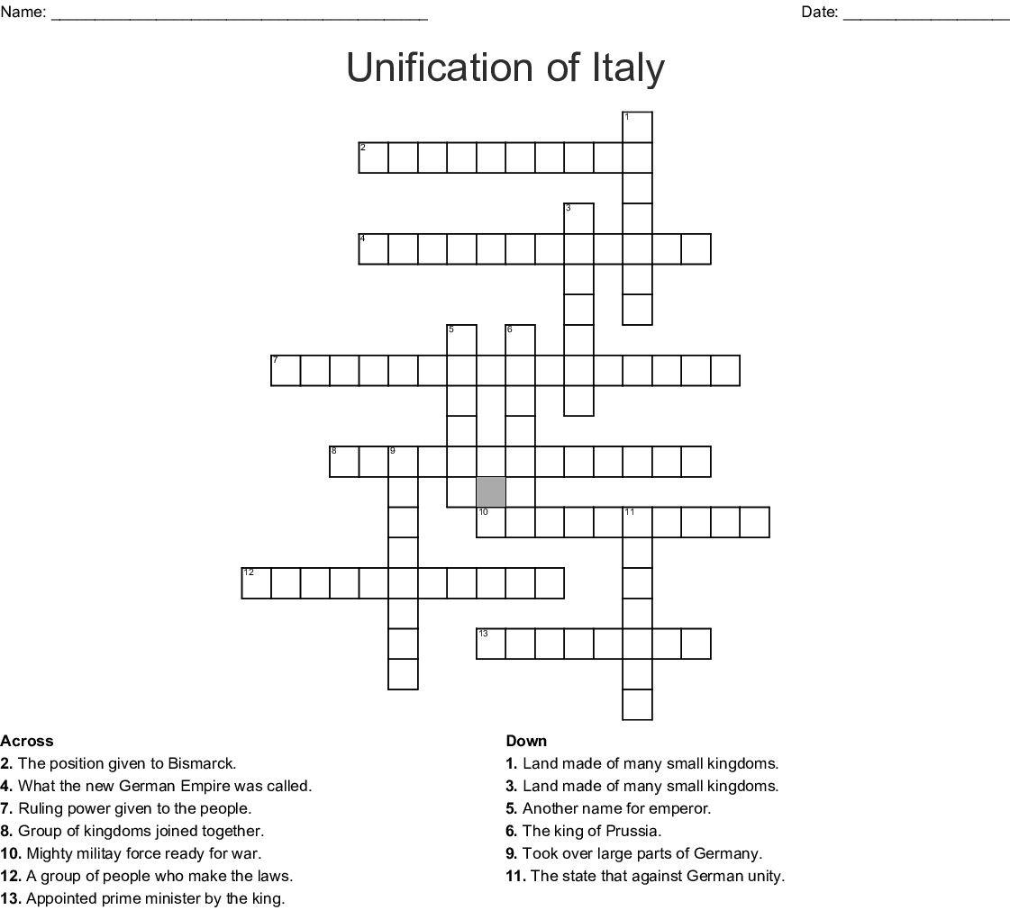 Unification Of Italy Crossword