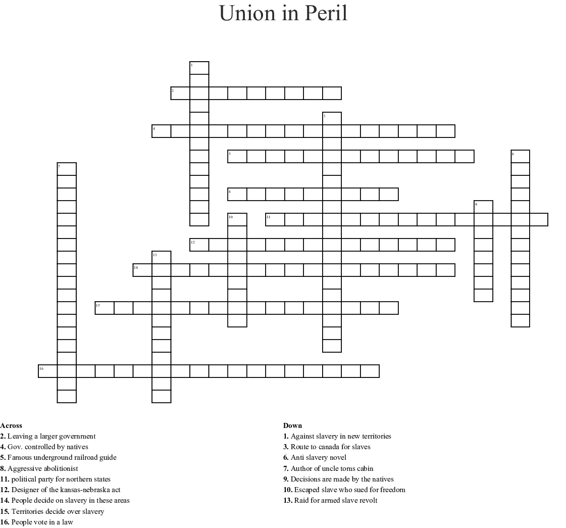Union In Peril Crossword
