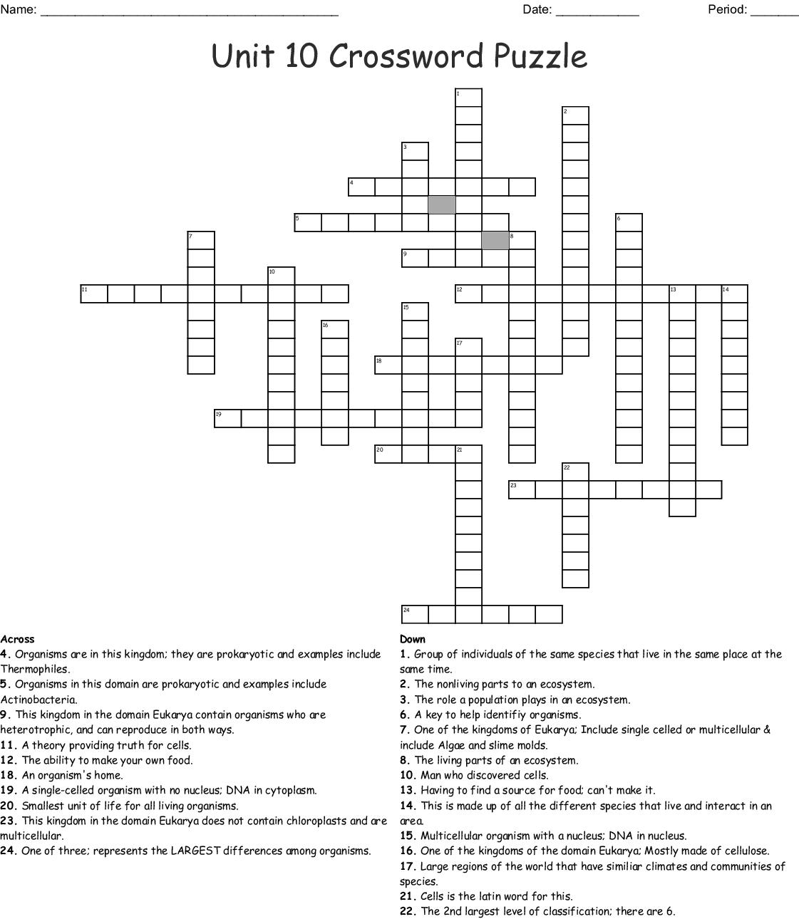 Unit 10 Crossword Puzzle