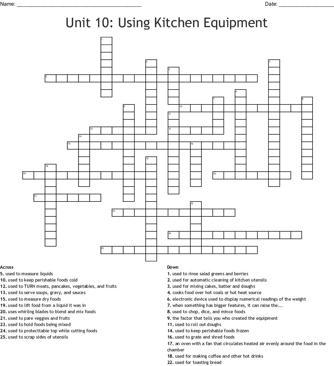 Unit 10 Using Kitchen Equipment Crossword