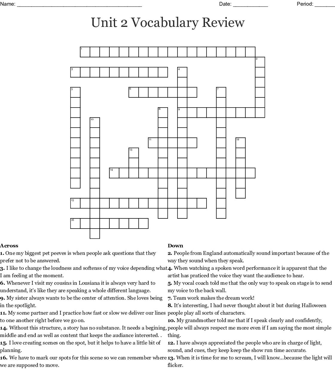 Unit 2 Vocabulary Review Crossword