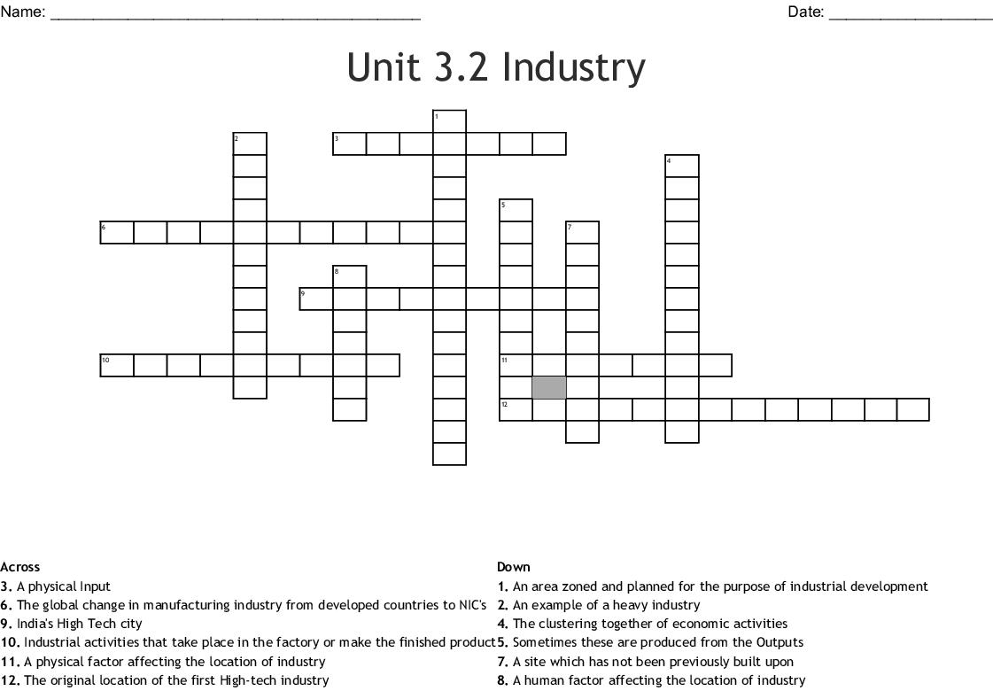 Unit 3 2 Industry Crossword
