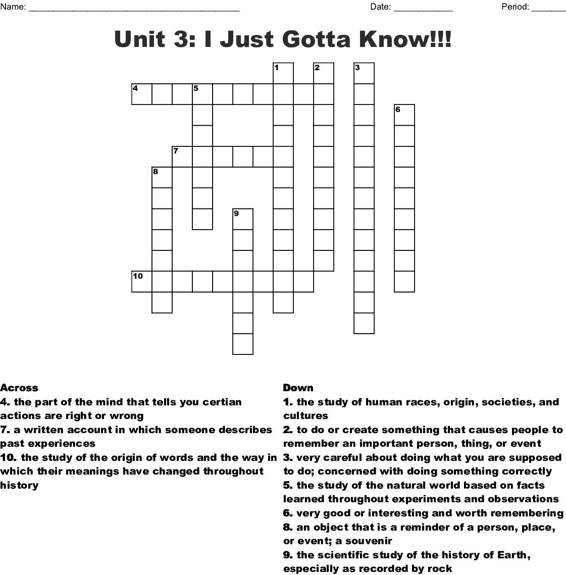 Unit 3 I Just Gotta Know Crossword